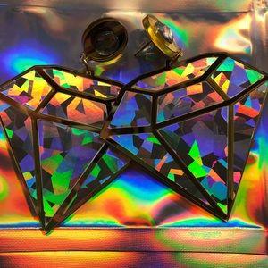 Gold hologram unicorn rainbow earrings diamond